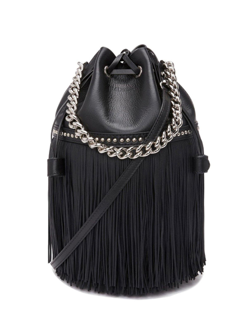 2-Way Medium Fringe Carnival Bag (with Chain) In Black - CLOSET Singapore