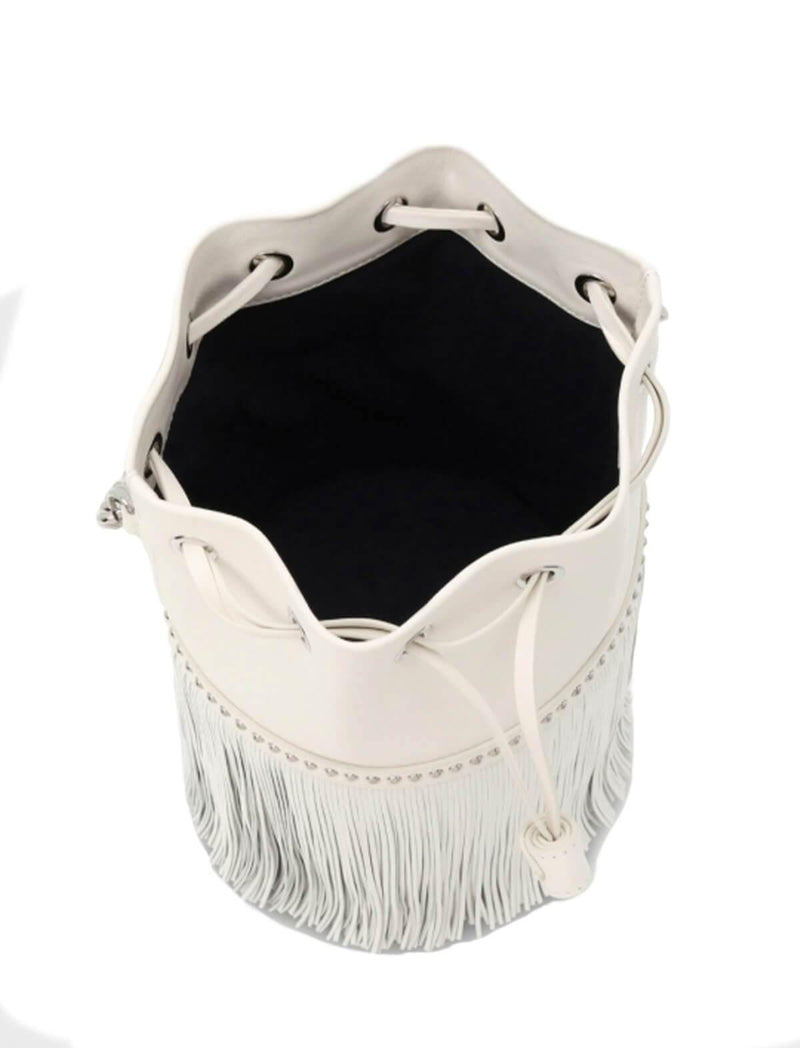 2-Way Medium Fringe Carnival Bag (with Chain) In White - CLOSET Singapore
