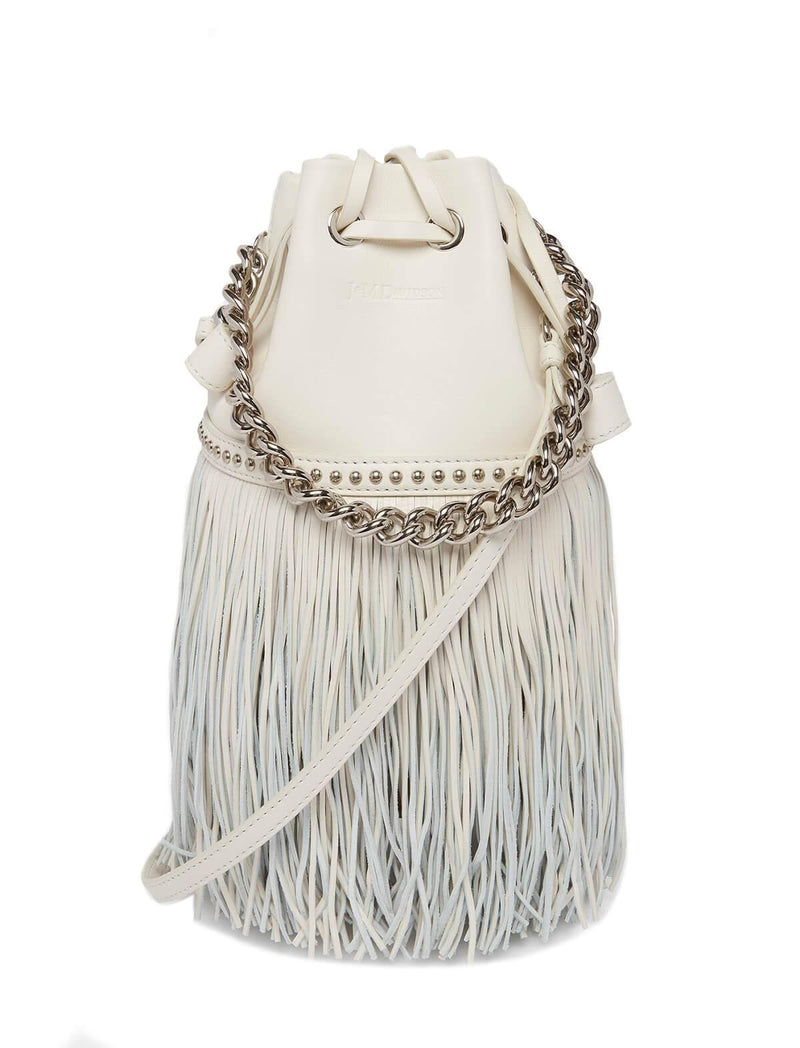 2-Way Mini Fringe Carnival Bag (with Chain) In White - CLOSET Singapore