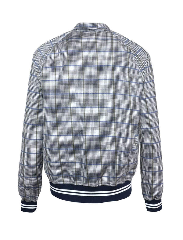 Cotton-blend Bomber Jacket in Grey Glen Check and Blue Overcheck