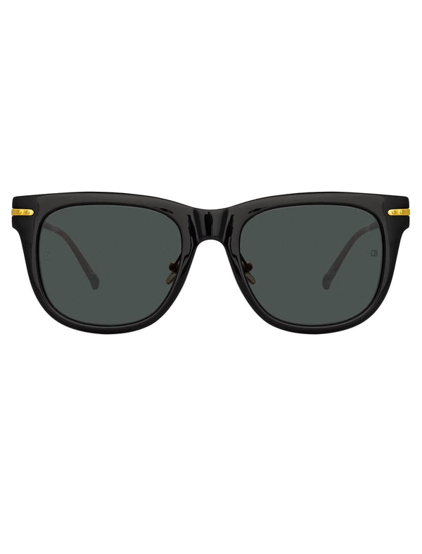 Chrysler D-Frame Sunglasses In Black and 22-carat yellow gold