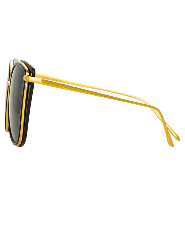 Liza Cat Eye Sunglasses In Black And 22-Carat Yellow Gold