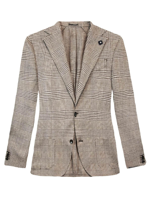 Single-Breasted Wool and Linen Glen Plaid Jacket in Brown