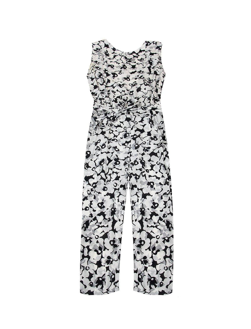 Silk Sleeveless Jumpsuit in Floral Print