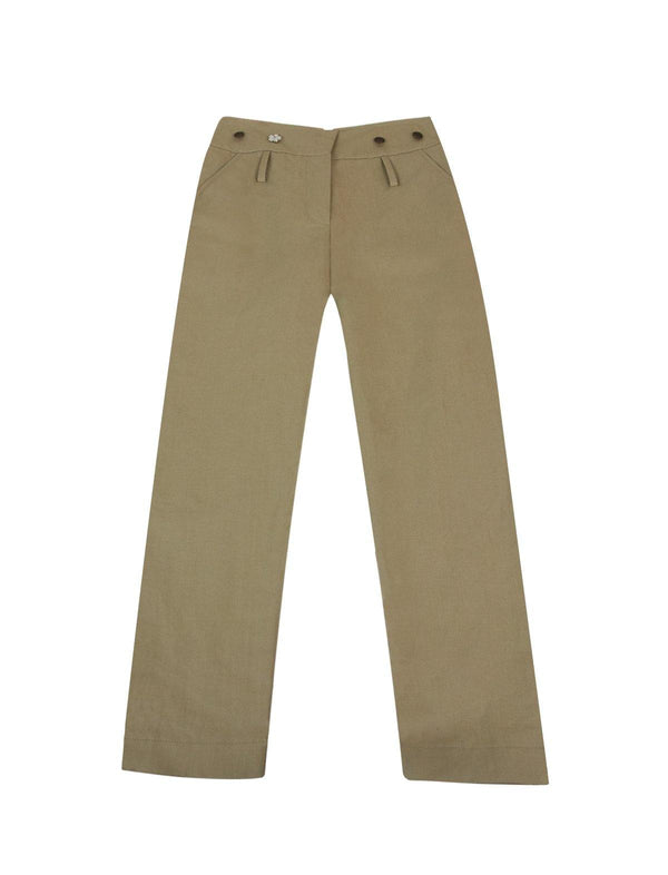 Midrise Cotton Blend Trousers in Khaki