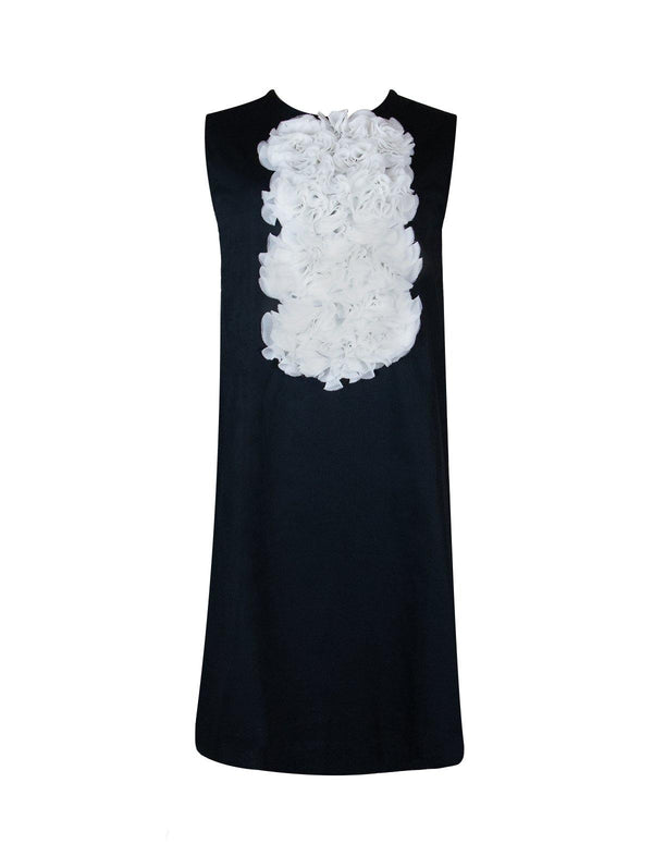 Floral Appliqué Shift Dress in Black