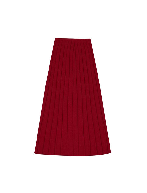 Cotton Ribbed Knit Midi Skirt in Red