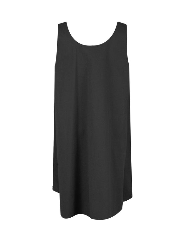 Cotton Sleeveless Shift Dress in Black
