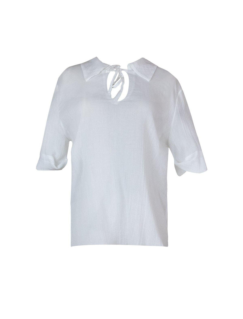 Cotton Woven Collared Blouse in White