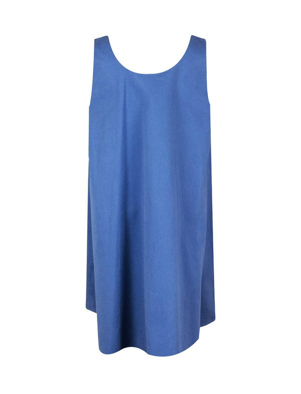 Cotton Sleeveless Shift Dress in Blue