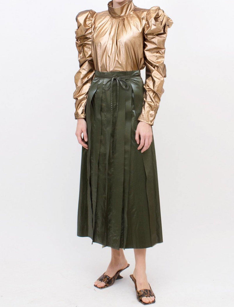 Layla Pleated Midi Skirt in Green