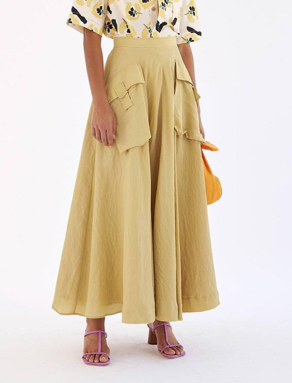 Lena Viscose Blend Skirt in Sand