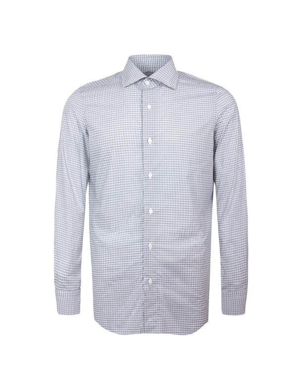 Milano Cotton Checked Shirt in White/ Blue