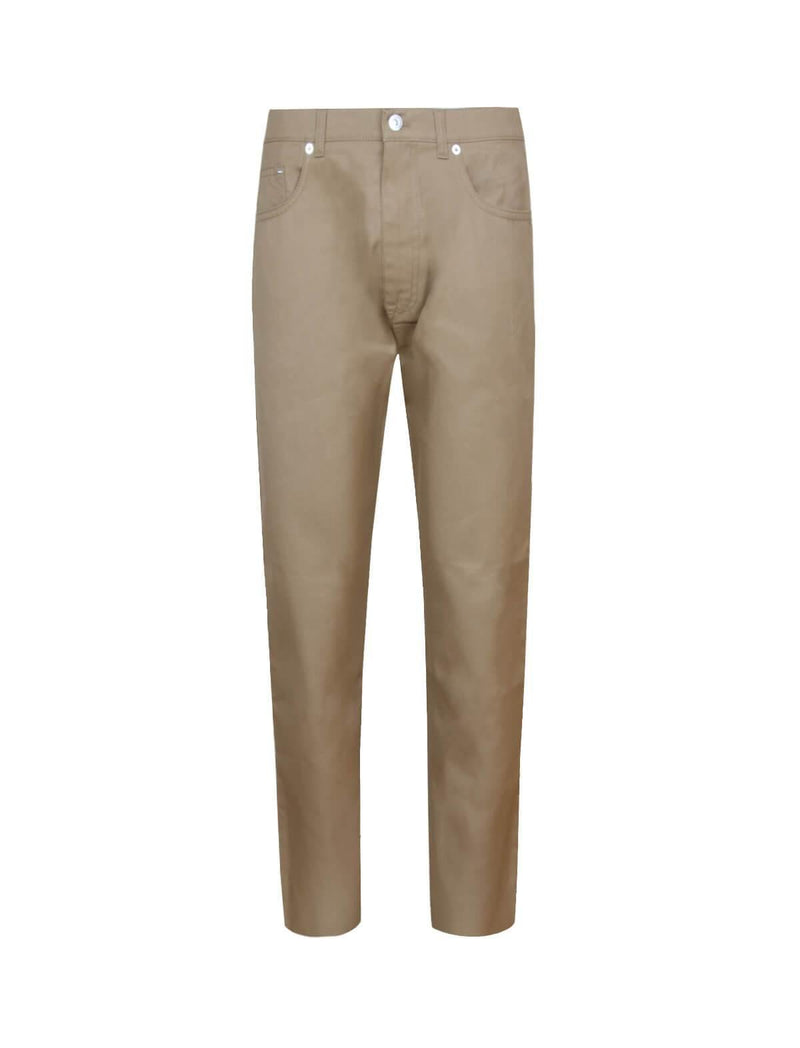 Low-rise Straight Cotton-Blend Jeans In Warm Beige