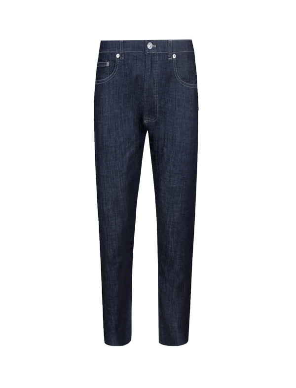 Low-rise Straight Cotton-Blend Jeans In Navy