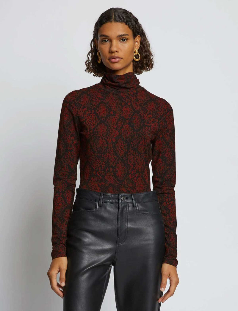 Stretch Jersey Turtleneck Top In Maple Snake Print