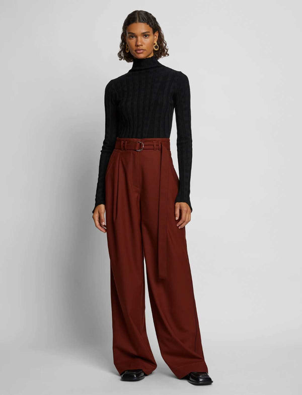 Stretch Suiting Wide-Leg Pants in Maple