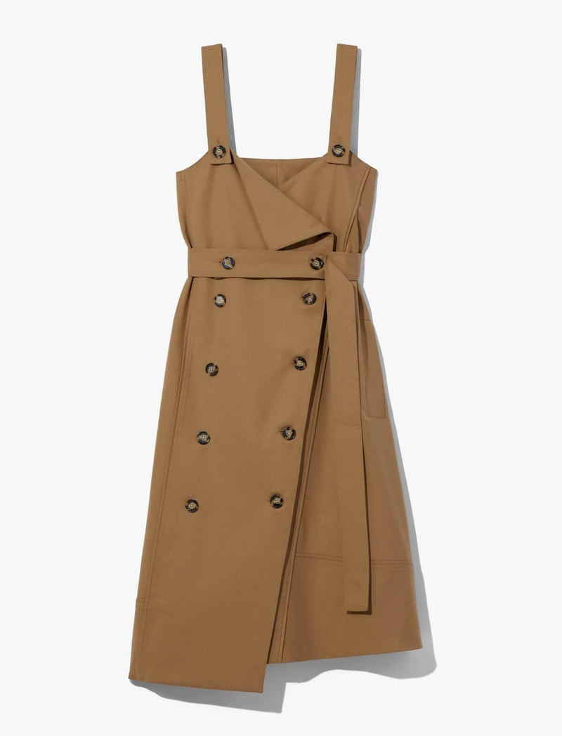 Stretch Suiting Double-Breasted Trench Dress in Cider