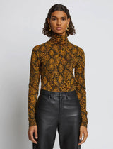 Stretch Jersey Turtleneck Top In Gold Snake Print