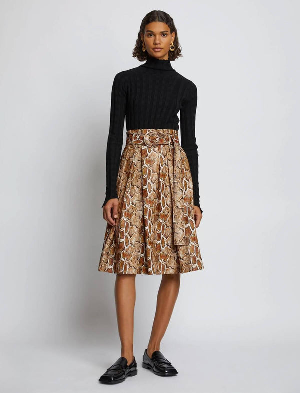 Pleated Skirt in Cider Snake Print