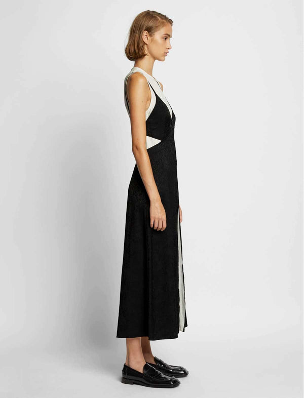 Layered Jacquard Midi Dress in Black and White