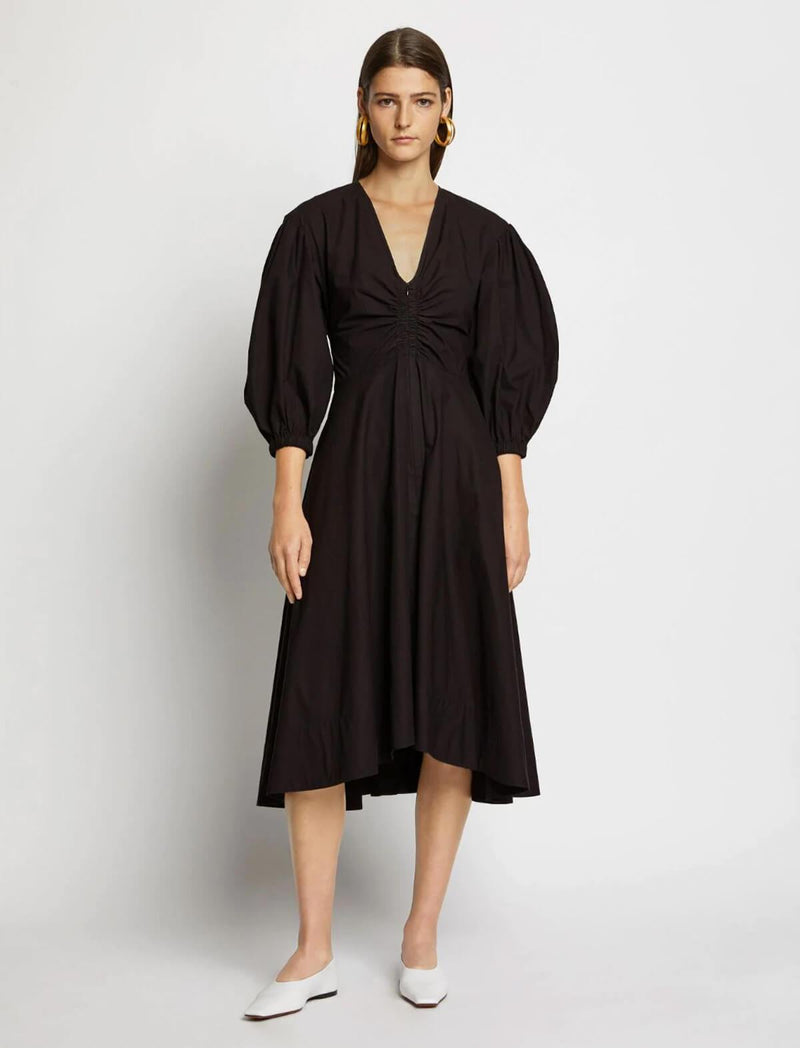 Cotton-Poplin Midi Dress In Black - CLOSET Singapore