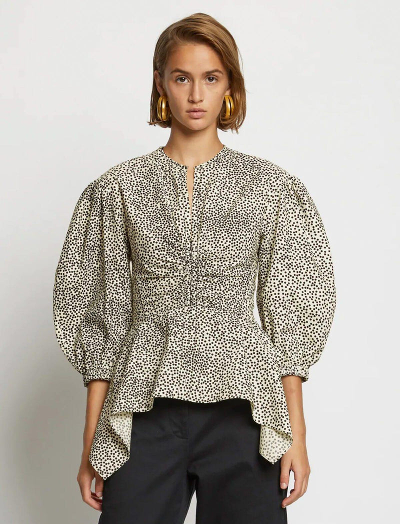 Cotton Peplum Blouse In Dotted Print - CLOSET Singapore