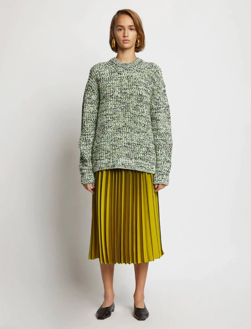 Ombré Plaid Pleated Midi Skirt in Olive