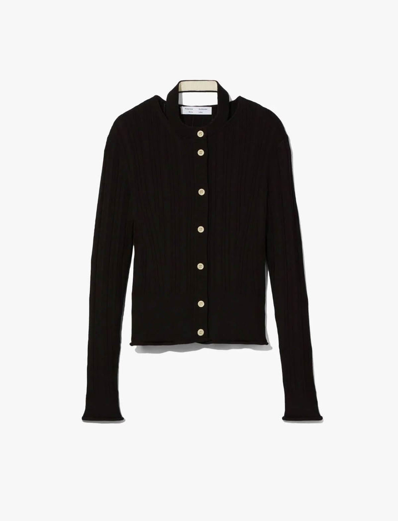 Silk-Cotton Rib Knit Cardigan In Black