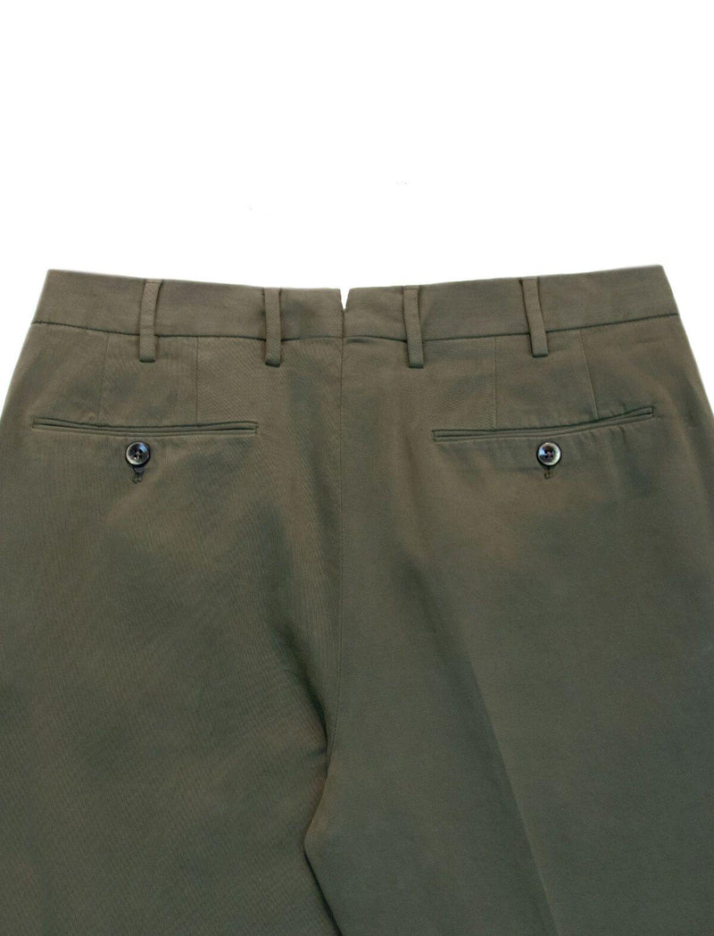 Gentleman Fit Cotton Pants In Army Green