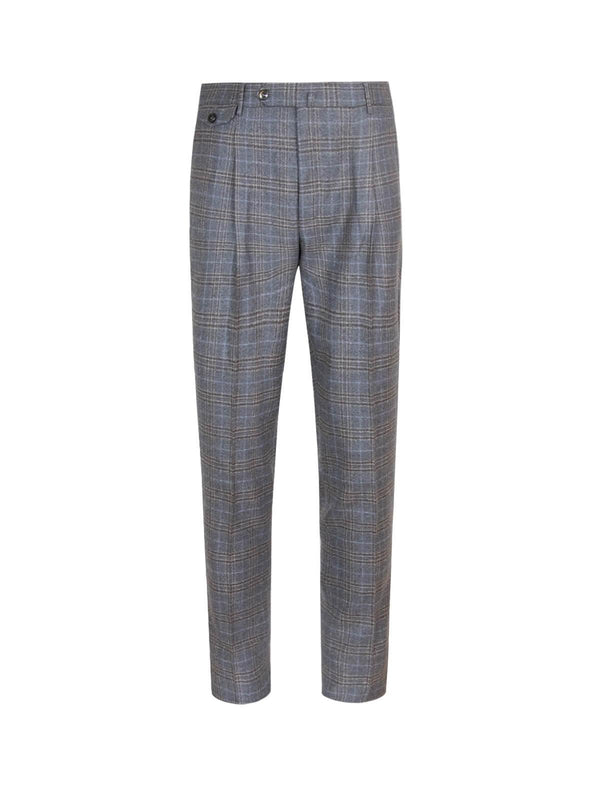 Gentleman Fit Wool Pants In Brown Gray Check - CLOSET Singapore