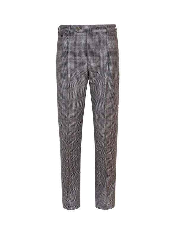 Gentleman Fit Wool Pants In Brown Red Check - CLOSET Singapore