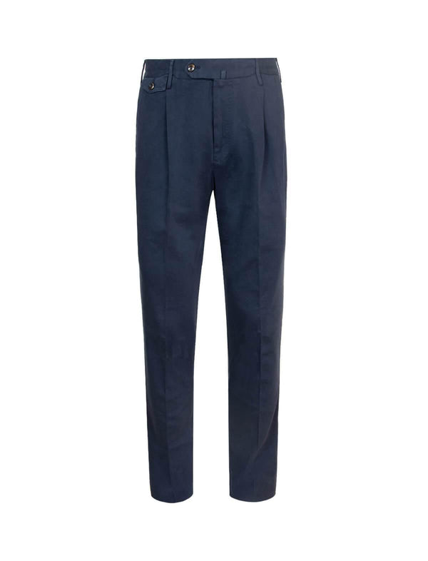 Gentleman Fit Cotton Pants In Navy - CLOSET Singapore