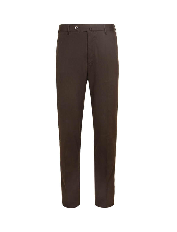Super Slim Fit Model-Cotton Pants In Brown