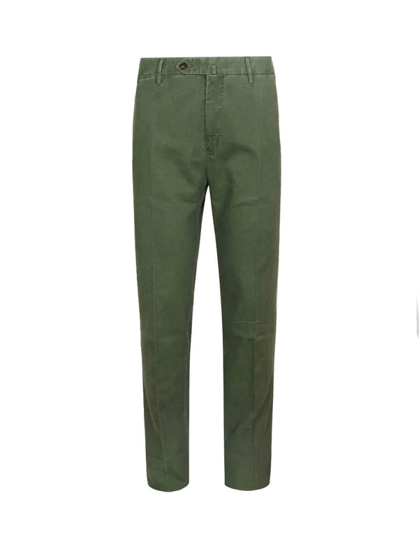 Super Slim Fit Cotton Pants In Green