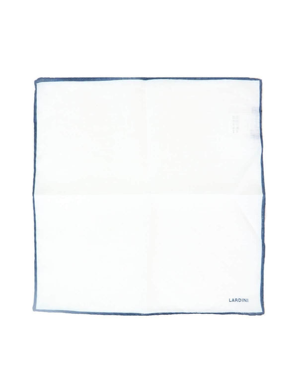 Linen Pocket Square in White and Blue - CLOSET Singapore
