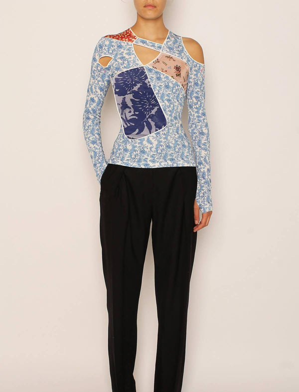 Jin Patchwork Stretch Crepe Top in Porcelain Multi
