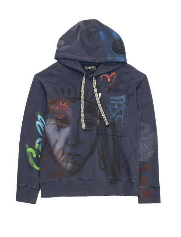 Printed Cotton Hoodie In Blue