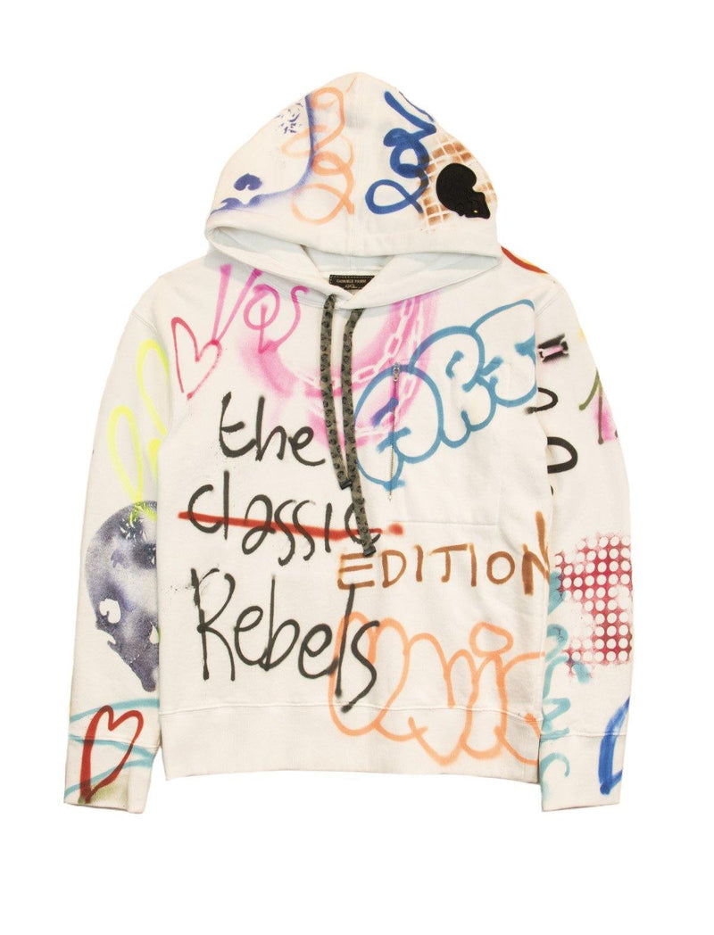 Printed Cotton Hoodie In White