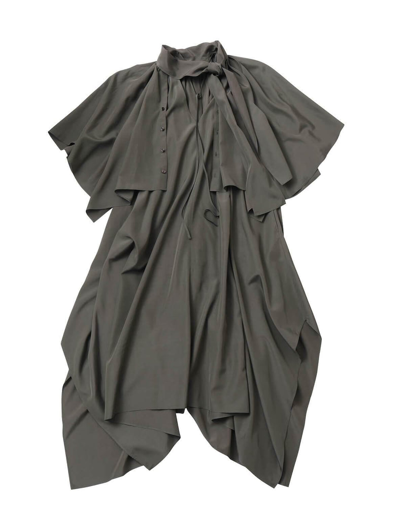 Asymmetric Rayon-Blend Shirt Dress in Olive
