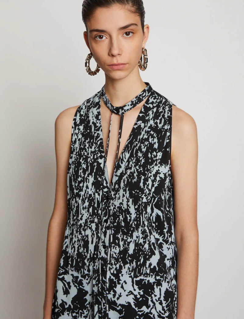 Printed Geogette Sleeveless Pintuck