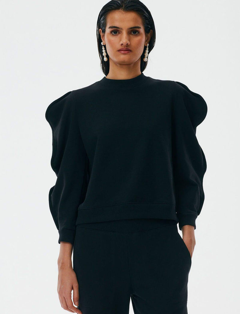 Cotton-Blend Scallop Sweater in Black
