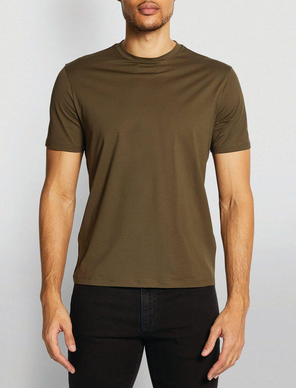 Superfine Cotton Stretch T-Shirt In Military Green