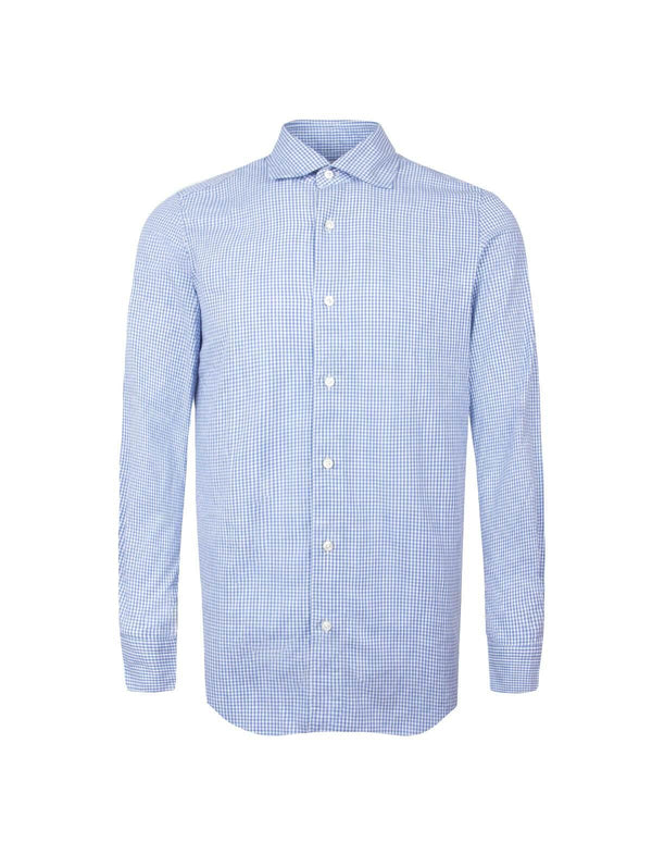 Tokyo Cotton Chambray Shirt in Light Blue Checks - CLOSET Singapore