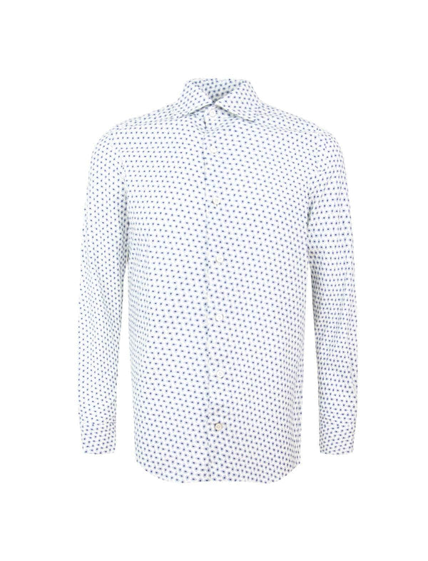 Tokyo Cotton-Wool Blend Shirt in White/ Paisley