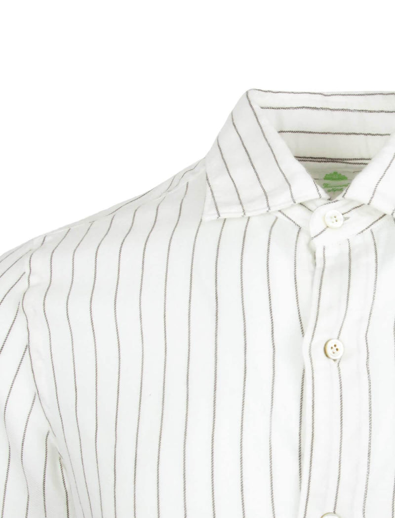 Tokyo Textile-Wool Blend Shirt in White Pinstripes