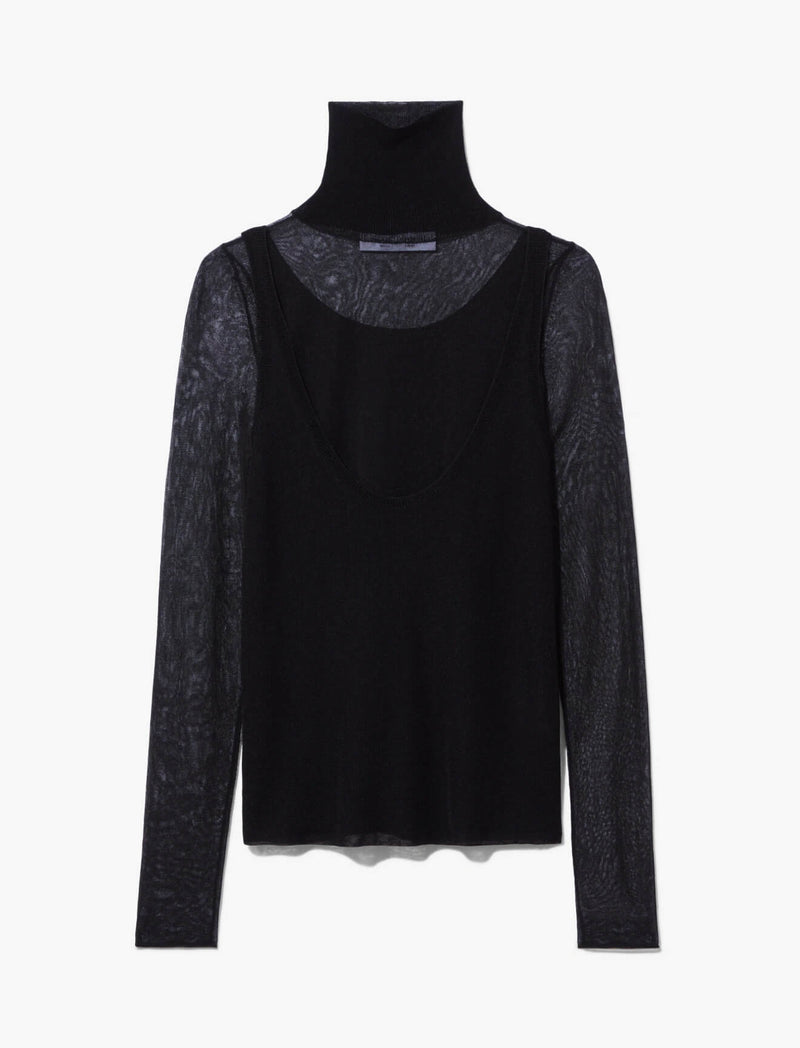 T-Neck Layered Knit Top