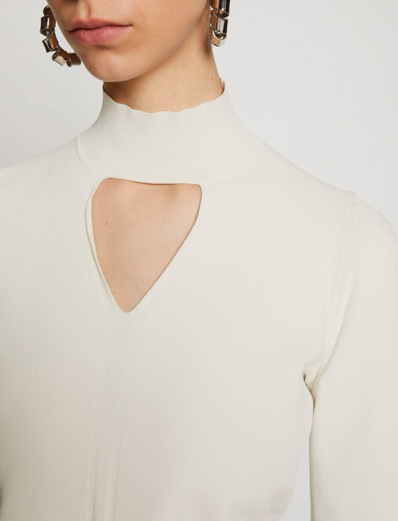 Compact Knit Turtleneck In Off White