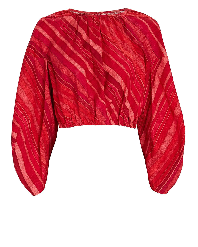 Martine Cotton-Silk Blouse in Red Clay Multi