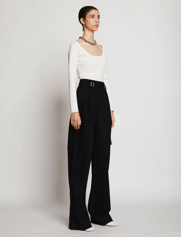 Cotton Twill Belted Pants In Black